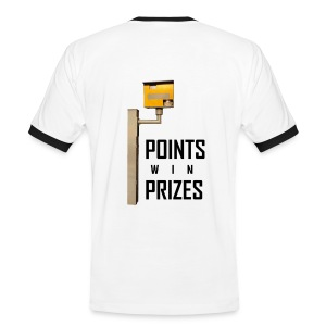 Points Win Prizes black-on-wht BACK LRG - Men's Ringer Shirt