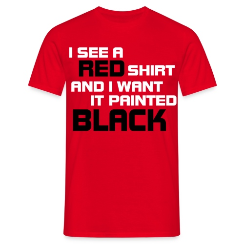 Men: Red Shirt Painted Black t-shirt - Mannen T-shirt