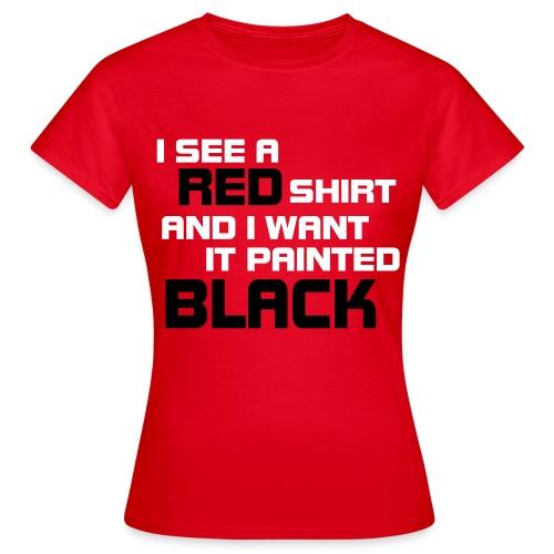 Women: Red Shirt Painted Black t-shirt - Vrouwen T-shirt