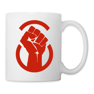 Red raised fist mug