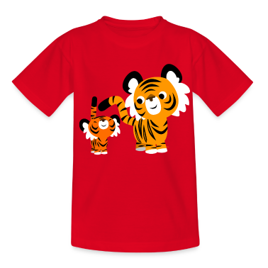 cute cartoon small and big tigers by cheerful madness t