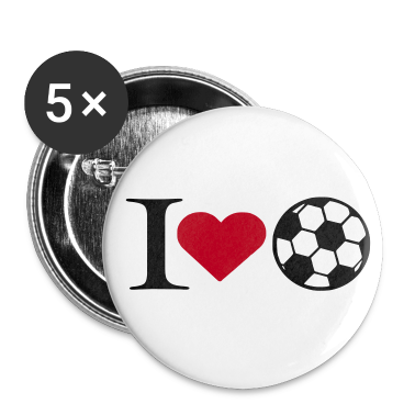 White I love soccer Buttons
