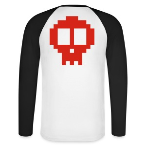 Pixel art skull - Men's Long Sleeve Baseball T-Shirt