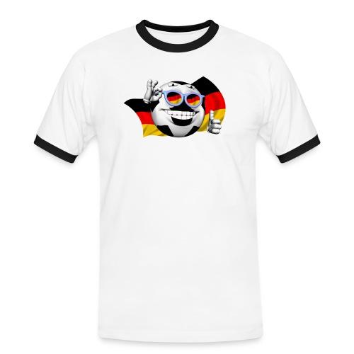 3D Fussball Deutschland - Männer Kontrast-T-Shirt