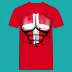 Denmark Flag Ripped Muscles, six pack, chest t-shirt - Men's T-Shirt