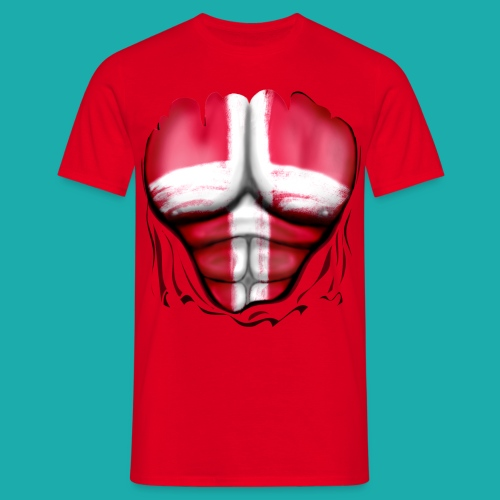 Denmark Flag Ripped Muscles, six pack, chest t-shirt - Men's T-Shirt