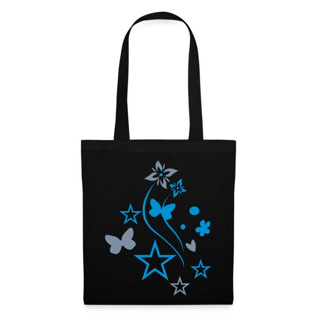 blue/silver butterfly tote bag