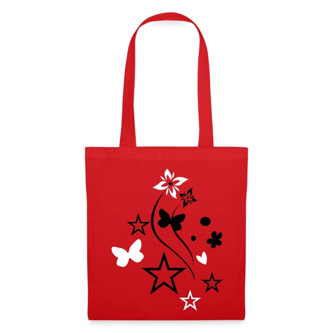 black/white butterfly tote bag
