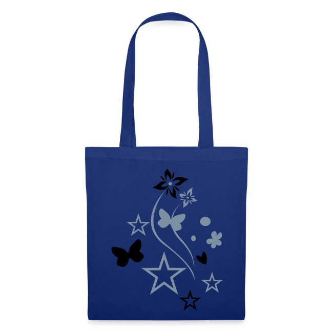 black/silver butterfly tote bag