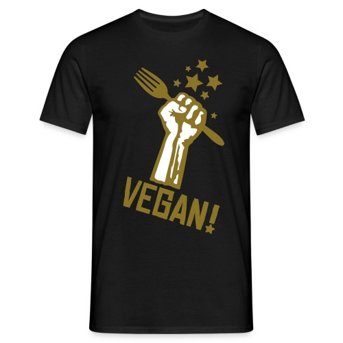Mens 'rising fist VEGAN!!' - Männer T-Shirt