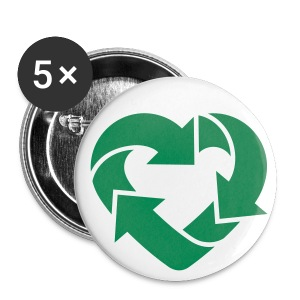 Recycling Heart - Love recycling Boys / Girls + (Dein Text) 2c - Buttons klein 25 mm