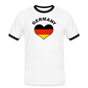 Heart for Germany Fanshirt + Name - Männer Kontrast-T-Shirt