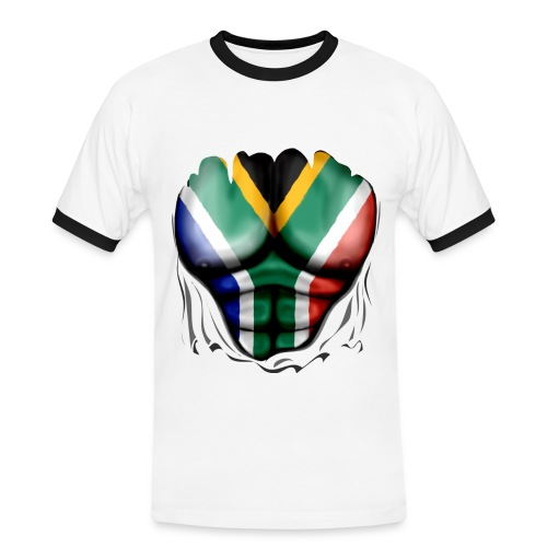 south africa  ripped muscles white  - Men's Ringer Shirt