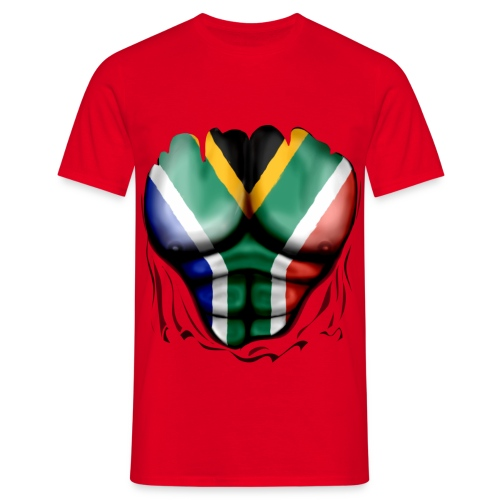 south africa  ripped muscles red - Men's T-Shirt