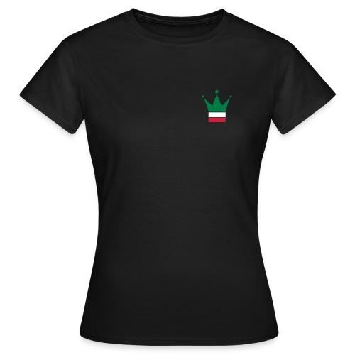 T-shirt da donna con logo Italia sul lato anteriore e sul retro scritta Forza Azurri in stampa speciale super riflesso - Maglietta da donna