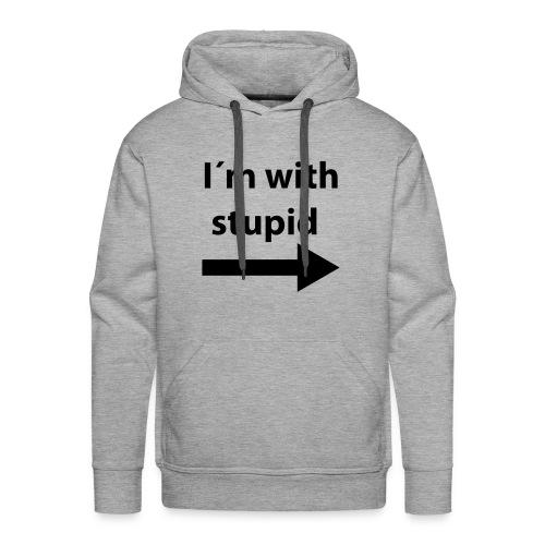 'with stupid' genser. - Premium hettegenser for menn