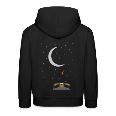 Navy rabbit stares at a carrot on the moon Kids' Tops