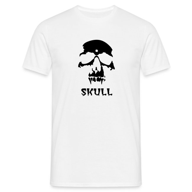 White T-shirt with black skull graphics