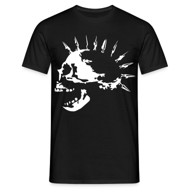Black spike_skull_c_1c Men's T-Shirts
