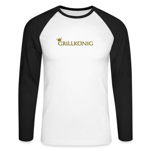 Poloshirt Grillkönig Langarm - Männer Baseballshirt langarm