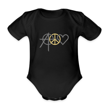 Black anarchy peace love (2c) Baby Bodysuits