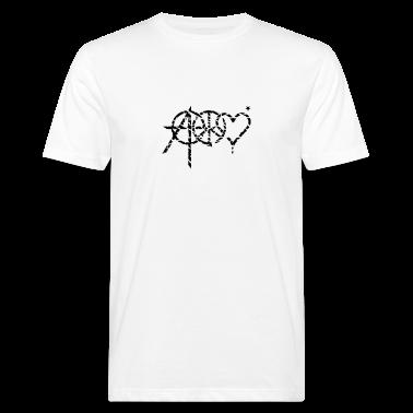 White anarchy peace love (grunge, 1c) Men's T-Shirts