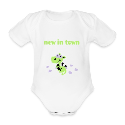 dragon new in town  - Organic Short-sleeved Baby Bodysuit