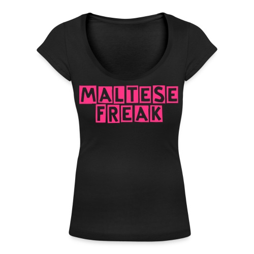 Maltese Freak elle - Women's Scoop Neck T-Shirt