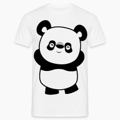 White Cute Mischievous Cartoon  Panda by Cheerful Madness!! Men's T-Shirts