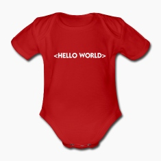 Red Hello World (1c) Baby Bodysuits