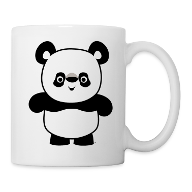White Cute Happy Cartoon Panda by Cheerful Madness!! Mugs
