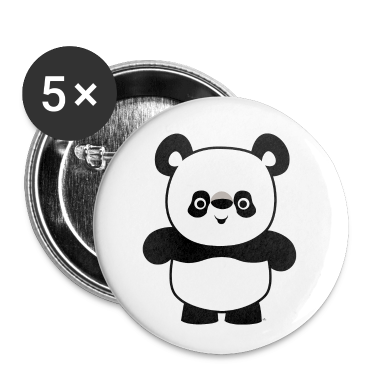 White Cute Happy Cartoon Panda by Cheerful Madness!! Buttons