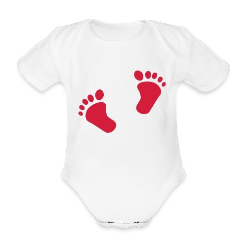 footsteps girl - Organic Short-sleeved Baby Bodysuit