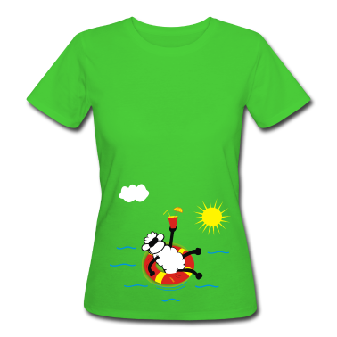 Light green Sheep on the beach Women's T-Shirts