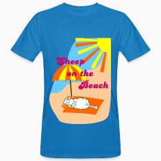 Peacock-blue Sheep on the beach Men's T-Shirts