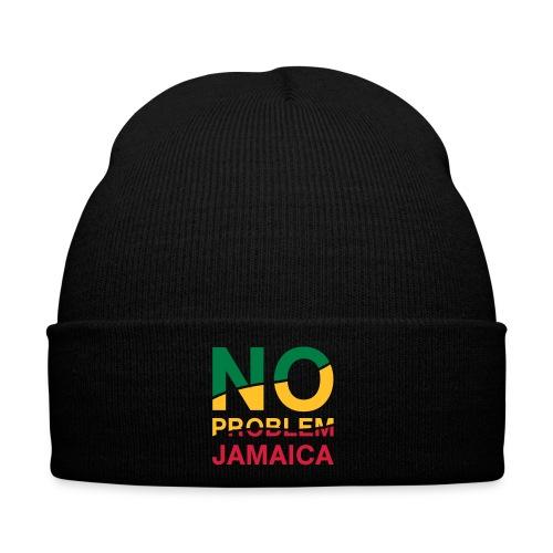 schwarze Jamaica-Mütze - No Problem in Reggaefarben - Wintermütze
