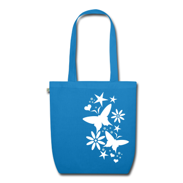 Peacock-blue flower butterflies Bags