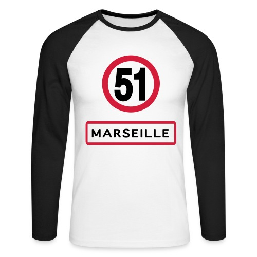 T-shirt baseball manches longues Homme - marseille