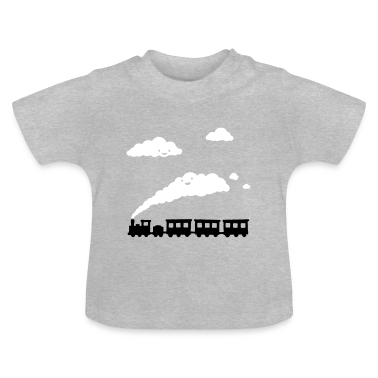 Heather grey railway locomotive Baby Shirts