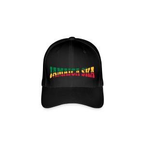 schwarzes Jamaica-Ska-Cap 3 farbiger Druck - Flexfit Baseballkappe