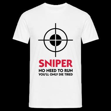 White Sniper - No need to run (2c) Men's T-Shirts