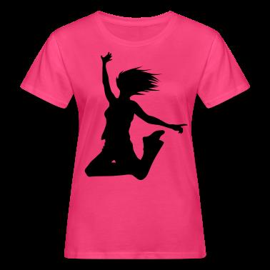 Neon pink silhouette woman jump Women's T-Shirts