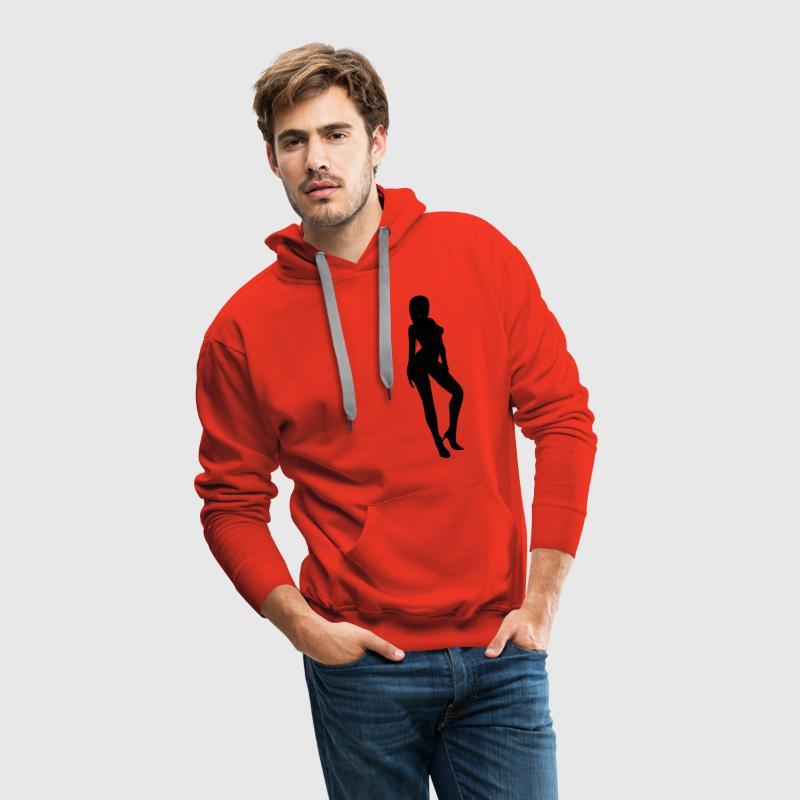 Red silhouette woman sexy Hoodies & Sweatshirts - Men's Premium Hoodie