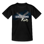 £14.28-Womens Grunge T-Shirt in Black with Scotland