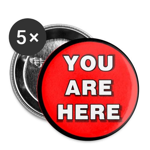 You are here - Confezione da 5 spille piccole (25 mm)