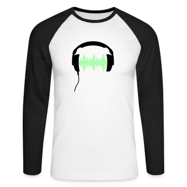 White/black DJ headphone rhytm frequency equalizer Long sleeve shirts