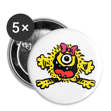 White Cute Cartoon Girlie Monster by Cheerful Madness!! Buttons