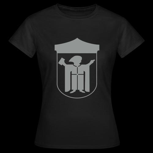 T-Shirt klassisch Flockdruck grau  - Frauen T-Shirt
