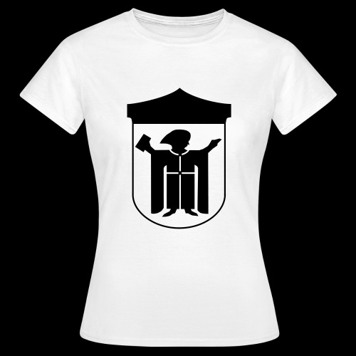 T-Shirt klassisch Flockdruck schwarz - Frauen T-Shirt