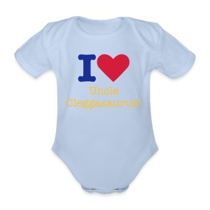 I Heart Uncle Cleggasaurus Babygrow - Organic Short-sleeved Baby Bodysuit